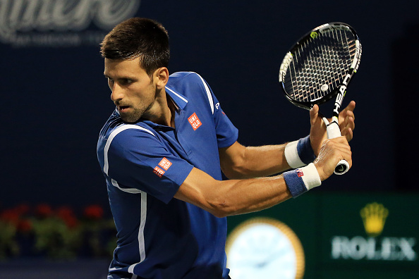 TORONTO, ON - JULY 28:  Novak Djokovic of Serbia plays a shot against Radek Stepanek of Czech Republic during Day 4 of the Rogers Cup at the Aviva Centre on July 28, 2016 in Toronto, Ontario, Canada.  (Photo by Vaughn Ridley/Getty Images)
