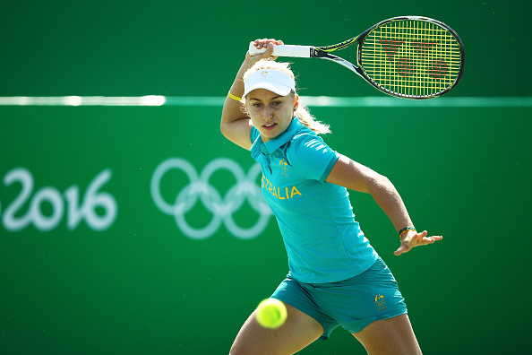 RIO DE JANEIRO, BRAZIL - AUGUST 05:  Daria Gavrilova of Australia practices at the Olympic Tennis Centre prior to the Rio 2016 Olympic Games on August 5, 2016 in Rio de Janeiro, Brazil.  (Photo by Clive Brunskill/Getty Images)