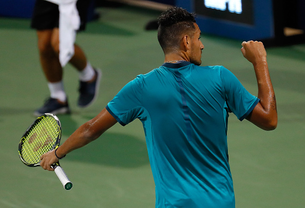 ATLANTA, GA - AUGUST 04:  Nick Kyrgios of Australia reacts after winning the first set against Jared Donaldson during the BB&T Atlanta Open at Atlantic Station on August 4, 2016 in Atlanta, Georgia.  (Photo by Kevin C. Cox/Getty Images)