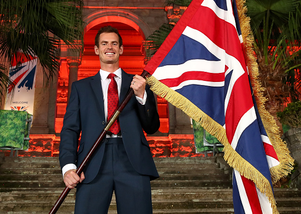 RIO DE JANEIRO, BRAZIL - AUGUST 03:  Tennis player Andy Murray of Great Britain is announced as the flag bearer for Team GB at the British House Reception ahead of the Rio 2016 Olympic Games on August 3, 2016 in Rio de Janeiro, Brazil.  (Photo by Clive Brunskill/Getty Images)