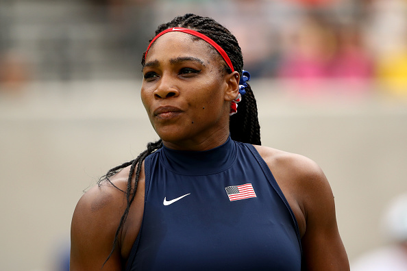 RIO DE JANEIRO, BRAZIL - AUGUST 07:  Serena Williams of the United States during her match against Daria Gavrilova of Australia in their first round match on Day 2 of the Rio 2016 Olympic Games at the Olympic Tennis Centre on August 7, 2016 in Rio de Janeiro, Brazil.  (Photo by Clive Brunskill/Getty Images)