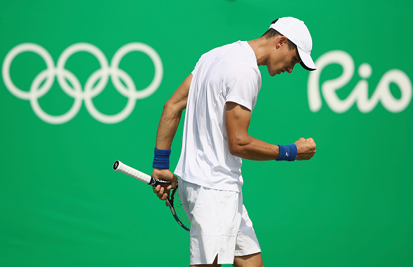 RIO DE JANEIRO, BRAZIL - AUGUST 09:  Evgeny Donskoy of Russia reacts during the men's second round single match against David Ferrer of Spain on Day 4 of the Rio 2016 Olympic Games at the Olympic Tennis Centre on August 9, 2016 in Rio de Janeiro, Brazil.  (Photo by Cameron Spencer/Getty Images)