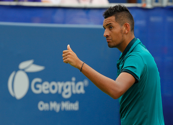 ATLANTA, GA - AUGUST 07:  Nick Kyrgios of Australia reacts in the match against John Isner during the finals of the BB&T Atlanta Open at Atlantic Station on August 7, 2016 in Atlanta, Georgia.  (Photo by Kevin C. Cox/Getty Images)