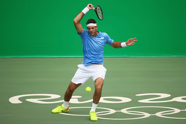 RIO DE JANEIRO, BRAZIL - AUGUST 11:  Juan Martin Del Potro of Argentina plays a forehand during the men's singles third round match against Taro Daniel of Japan on Day 6 of the 2016 Rio Olympicsjat the Olympic Tennis Centre on August 11, 2016 in Rio de Janeiro, Brazil.  (Photo by Clive Brunskill/Getty Images)
