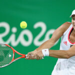 on Day 4 of the Rio 2016 Olympic Games at the Olympic Tennis Centre on August 9, 2016 in Rio de Janeiro, Brazil.
