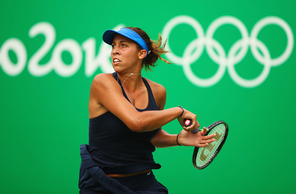 RIO DE JANEIRO, BRAZIL - AUGUST 08:  Madison Keys of the United States plays a forehand during the Women's Singles second round match against Kristina Mladenovic of France on Day 3 of the Rio 2016 Olympic Games at the Olympic Tennis Centre on August 8, 2016 in Rio de Janeiro, Brazil.  (Photo by Clive Brunskill/Getty Images)