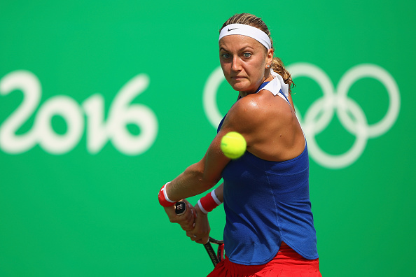 during a match on Day 4 of the Rio 2016 Olympic Games at the Olympic Tennis Centre on August 9, 2016 in Rio de Janeiro, Brazil.