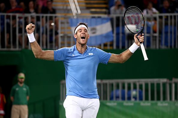 RIO DE JANEIRO, BRAZIL - AUGUST 12:  Juan Martin Del Potro of Argentina celebrates after defeating Roberto Bautista Agut of Spain in the Men's Singles Quarterfinal on Day 7 of the Rio 2016 Olympic Games at the Olympic Tennis Centre on August 12, 2016 in Rio de Janeiro, Brazil.  (Photo by Mark Kolbe/Getty Images)