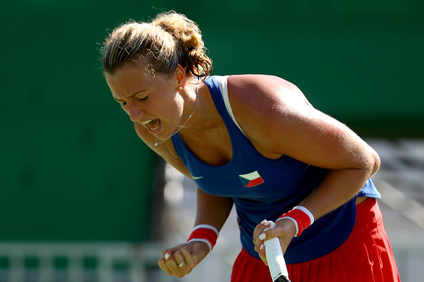 RIO DE JANEIRO, BRAZIL - AUGUST 13:  Petra Kvitova of the Czech Republic reacts during the Women's Singles Bronze Medal Match against Madison Keys of the United States on Day 8 of the Rio 2016 Olympic Games at the Olympic Tennis Centre on August 13, 2016 in Rio de Janeiro, Brazil. Kvitova defeated Keys 7-5, 2-6, 6-2.  (Photo by Dean Mouhtaropoulos/Getty Images)
