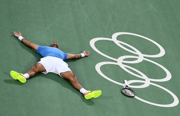 RIO DE JANEIRO, BRAZIL - AUGUST 13:  Juan Martin Del Potro of Argentina reacts after defeating Rafael Nadal of Spain in the Men's Singles Semifinal Match on Day 8 of the Rio 2016 Olympic Games at the Olympic Tennis Centre on August 13, 2016 in Rio de Janeiro, Brazil. Del Potro defeated Nadal 5-7, 6-4, 7-6(5).  (Photo by Dean Mouhtaropoulos/Getty Images)