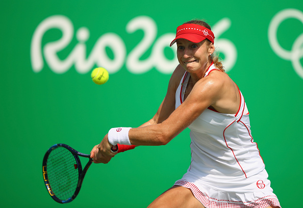 RIO DE JANEIRO, BRAZIL - AUGUST 09:  Ekaterina Makarova of Russia hits during the women's third round singles match against Petra Kvitova of Czech Republic on Day 4 of the Rio 2016 Olympic Games at the Olympic Tennis Centre on August 9, 2016 in Rio de Janeiro, Brazil.  (Photo by Clive Brunskill/Getty Images)