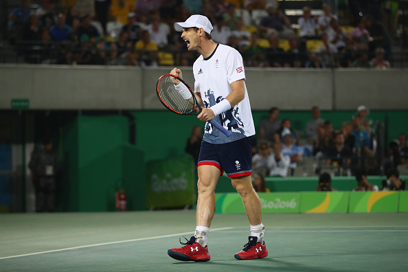 RIO DE JANEIRO, BRAZIL - AUGUST 14:  Andy Murray of Great Britain celebrates winning a point during the men's singles gold medal match against Juan Martin Del Potro of Argentina on Day 9 of the Rio 2016 Olympic Games at the Olympic Tennis Centre on August 14, 2016 in Rio de Janeiro, Brazil.  (Photo by Clive Brunskill/Getty Images)