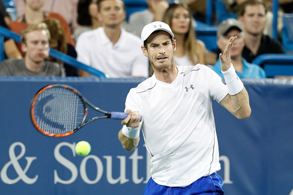 MASON, OH - AUGUST 17: Andy Murray of Great Britain hits a return to Juan Monaco of Argentina on Day 5 of the Western & Southern Open at the Lindner Family Tennis Center on August 17, 2016 in Mason, Ohio. (Photo by Joe Robbins/Getty Images)