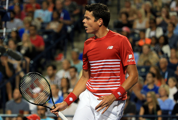 TORONTO, ON - JULY 29:  Milos Raonic of Canada reacts against Gael Monfils of France during Day 5 of the Rogers Cup at the Aviva Centre on July 29, 2016 in Toronto, Ontario, Canada.  (Photo by Vaughn Ridley/Getty Images)