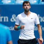MASON, OH - AUGUST 19: Grigor Dimitrov of Bulgaria reacts after winning a quarterfinal match against Steve Johnson of the United States on Day 7 of the Western & Southern Open at the Lindner Family Tennis Center on August 19, 2016 in Mason, Ohio. Dimitrov defeated Johnson 7-6, 6-2. (Photo by Joe Robbins/Getty Images)