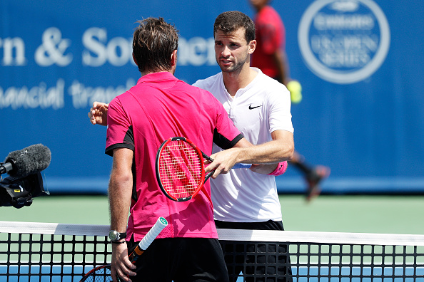 MASON, OH - AUGUST 18: Grigor Dimitrov of Bulgaria reacts after upsetting Stan Wawrinka of Switzerland 6-4, 6-4 during round three play on Day 6 of the Western & Southern Open at the Lindner Family Tennis Center on August 18, 2016 in Mason, Ohio. (Photo by Joe Robbins/Getty Images)