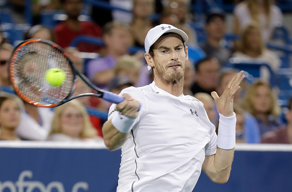 MASON, OH - AUGUST 20:  Andy Murray of Great Britain hits a return in the semifinal match against Milos Raonic  during day 8 of the Western & Southern Open at the Lindner Family Tennis Center   on August 20, 2016 in Mason, Ohio.  (Photo by Andy Lyons/Getty Images)