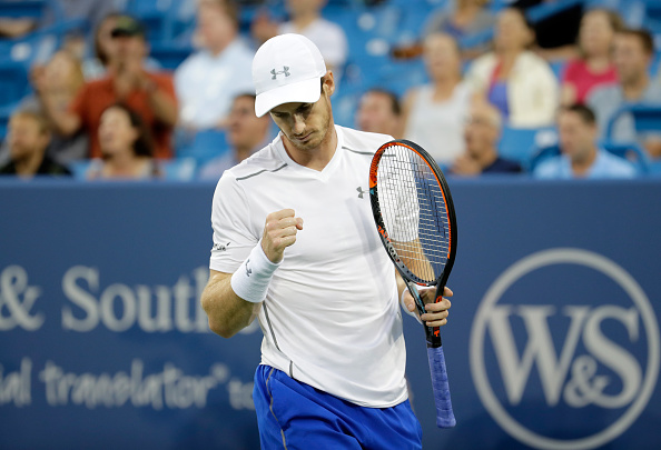 MASON, OH - AUGUST 20:  Andy Murray of Great Britain celebrates after winning a point in the semifinal match against Milos Raonic  during day 8 of the Western & Southern Open at the Lindner Family Tennis Center   on August 20, 2016 in Mason, Ohio.  (Photo by Andy Lyons/Getty Images)