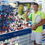 MASON, OH - AUGUST 21: Marin Cilic of Croatia poses with the winner's trophy after defeating Andy Murray of Great Britain in the men's singles final on Day 9 of the Western & Southern Open at the Lindner Family Tennis Center on August 21, 2016 in Mason, Ohio. (Photo by Joe Robbins/Getty Images)
