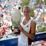 MASON, OH - AUGUST 21:  Karolina Pliskova of the Czech Republic holds the winner's trophy after winning the final match against Angelique Kerber during day 9 of the Western & Southern Open at the Lindner Family Tennis Center  on August 21, 2016 in Mason, Ohio.  (Photo by Andy Lyons/Getty Images)