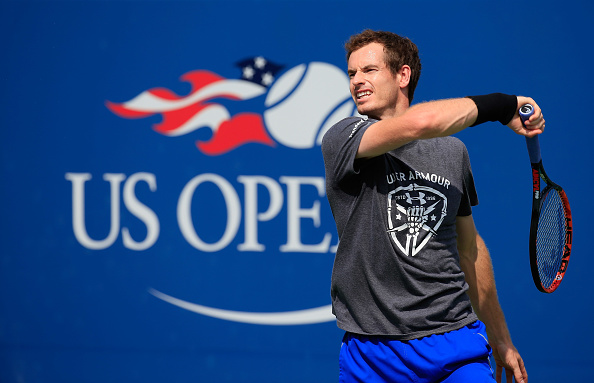 NEW YORK, NY - AUGUST 26:  Andy Murray of Great Britain hits a shot during a practice session prior to the start of the 2016 US Open at the USTA Billie Jean King National Tennis Center on August 26, 2016 in the Queens borough of New York City.  (Photo by Chris Trotman/Getty Images for USTA)