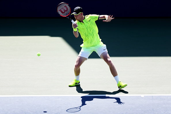 NEW YORK, NY - AUGUST 29:  Kyle Edmund of Great Britain returns a shot to Richard Gasquet of France during his first round Men's Singles match on Day One of the 2016 US Open at the USTA Billie Jean King National Tennis Center on August 29, 2016 in the Flushing neighborhood of the Queens borough of New York City.  (Photo by Joe Scarnici/Getty Images)