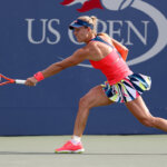 NEW YORK, NY - AUGUST 31:  Angelique Kerber of Germany returns a shot to Mirjana Lucic-Baroni of Croatia during her second round Women's Singles match on Day Three of the 2016 US Open at the USTA Billie Jean King National Tennis Center on August 31, 2016 in the Flushing neighborhood of the Queens borough of New York City.  (Photo by Joe Scarnici/Getty Images)