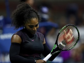 NEW YORK, NY - SEPTEMBER 01:  Serena Williams of the United States reacts against Vania King of the United States during her second round Women's Singles match on Day Four of the 2016 US Open at the USTA Billie Jean King National Tennis Center on September 1, 2016 in the Flushing neighborhood of the Queens borough of New York City.  (Photo by Elsa/Getty Images)