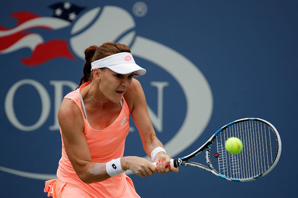NEW YORK, NY - SEPTEMBER 03:  Agnieszka Radwanska of Poland returns a shot to Caroline Garcia of France during her third round Women's Singles match on Day Six of the 2016 US Open at the USTA Billie Jean King National Tennis Center on September 3, 2016 in the Flushing neighborhood of the Queens borough of New York City.  (Photo by Andy Lyons/Getty Images)