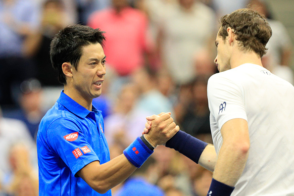 2016 U.S. Open - Day 10  Kei Nishikori of Japan shakes hands after beating Andy Murray of Great Britain in the Men's Singles Quarterfinal match on Arthur Ashe Stadium on day ten of the 2016 US Open Tennis Tournament at the USTA Billie Jean King National Tennis Center on September 7, 2016 in Flushing, Queens, New York City.  (Photo by Tim Clayton/Corbis via Getty Images)