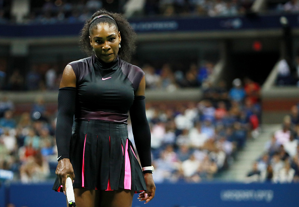 NEW YORK, NY - SEPTEMBER 08:  Serena Williams of the United States reacts against Karolina Pliskova of the Czech Republic during her Women's Singles Semifinal Match on Day Eleven of the 2016 US Open at the USTA Billie Jean King National Tennis Center on September 8, 2016 in the Flushing neighborhood of the Queens borough of New York City.  (Photo by Michael Reaves/Getty Images)