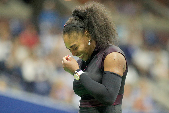 2016 U.S. Open - Day 11  Serena Williams of the United States reacts during her loss against Karolina Pliskova of the Czech Republic in the Women's Singles Semifinal match on Arthur Ashe Stadium on day eleven of the 2016 US Open Tennis Tournament at the USTA Billie Jean King National Tennis Center on September 8, 2016 in Flushing, Queens, New York City.  (Photo by Tim Clayton/Corbis via Getty Images)