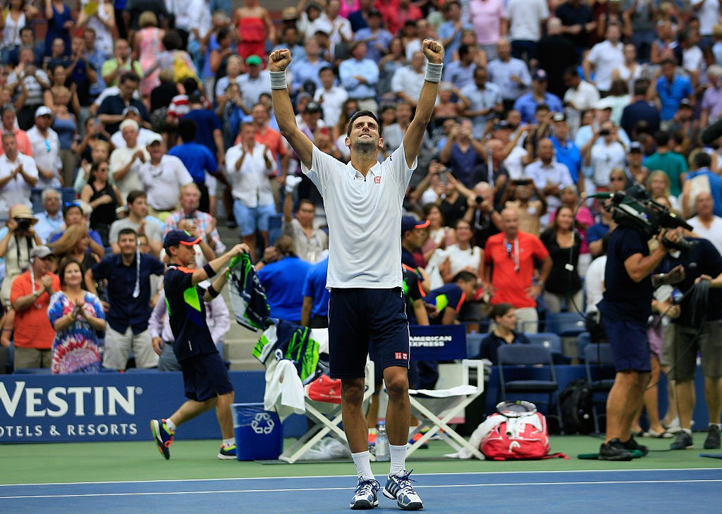 NEW YORK, NY - SEPTEMBER 09:  Novak Djokovic of Serbia celebrates after defeating Gael Monfils of France during their Men's Singles Semifinal Match on Day Twelve of the 2016 US Open at the USTA Billie Jean King National Tennis Center on September 9, 2016 in the Queens borough of New York City.  (Photo by Chris Trotman/Getty Images for USTA)