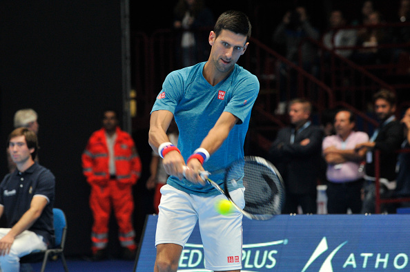 ASSAGO FORUM, MILAN, ITALY - 2016/09/21: Novak Djokovic in actions Djokovic & Friends show. The most anticipated event of Star Tennis for two days in the star system company of Tennis and with the special participation of Fiorello. (Photo by Gaetano Piazzolla/Pacific Press/LightRocket via Getty Images)
