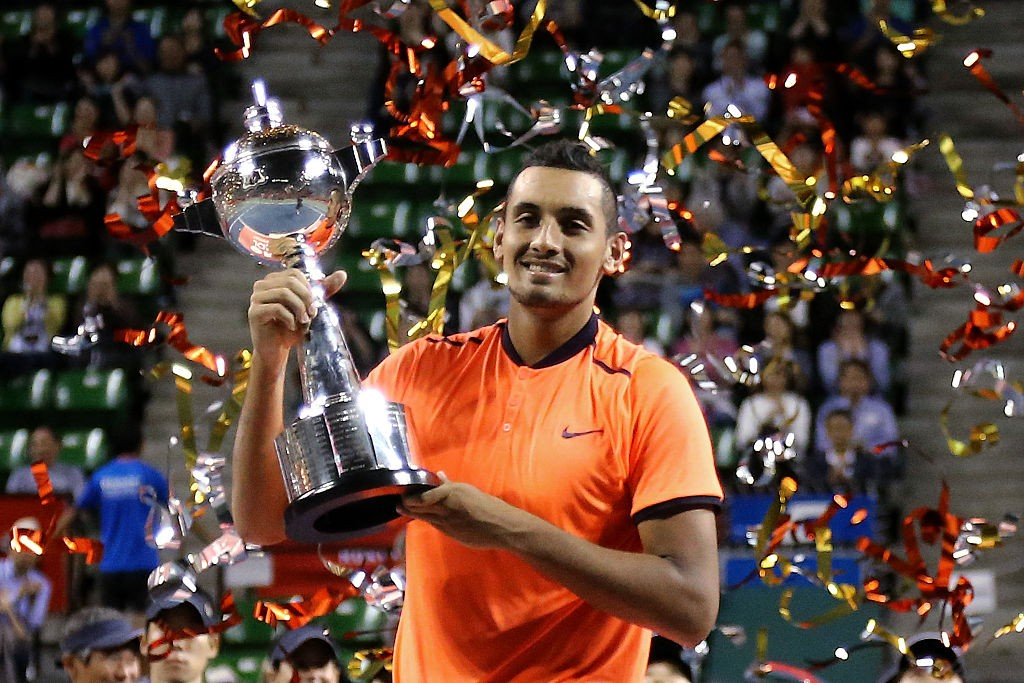 TOKYO, JAPAN - OCTOBER 09:  Nick Kyrgios of Australia poses with the trophy after winning the men's singles final match against David Goffin of Belgium on day seven of Rakuten Open 2016 at Ariake Colosseum on October 9, 2016 in Tokyo, Japan.  (Photo by Koji Watanabe/Getty Images)