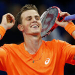 Canada's Vasek Pospisil reacts after winning his quarter final match against Ivan Dodig of Croatia at the Swiss Indoors ATP tennis tournament in Basel October 25, 2013.   REUTERS/Arnd Wiegmann (SWITZERLAND - Tags: SPORT TENNIS)