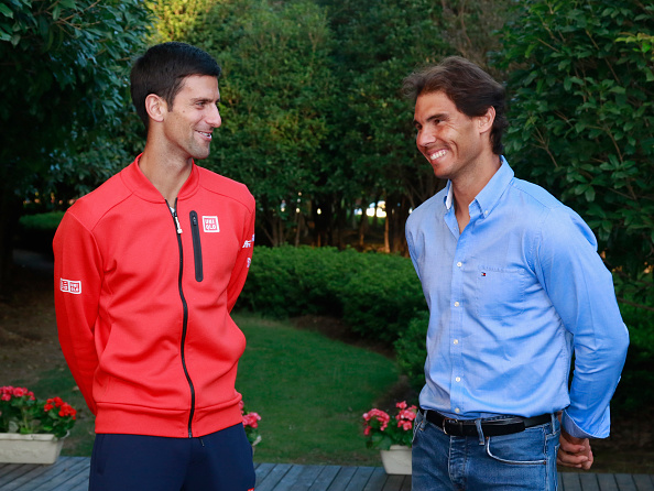 SHANGHAI, CHINA - OCTOBER 10:  (L to R)Novak Djokovic and Rafael Nadal chats at the sponsors party of ATP Shanghai Rolex Masters 2016 at Qi Zhong Tennis Centre on October 10, 2016 in Shanghai, China.  (Photo by Kevin Lee/Getty Images)