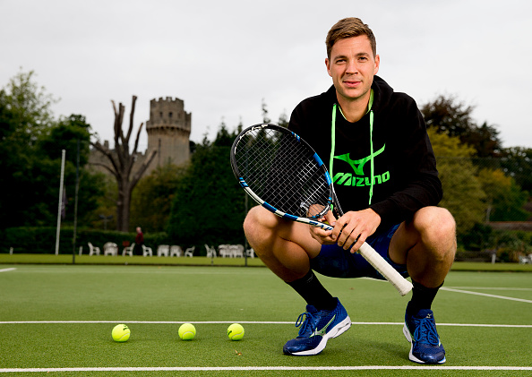 WARWICK, ENGLAND - OCTOBER 07 : British tennis player Marcus Willis poses at the Warwick Boat Club as he gets ready to play for a winner-take-all prize of $250,000 at Tie Break Tens in Vienna on October 23rd. He will be up against Andy Murray, Jo Wilfried Tsonga and Dominic Thiem.  (Photo by Neville Williams/Getty Images for Tie Break Tens)
