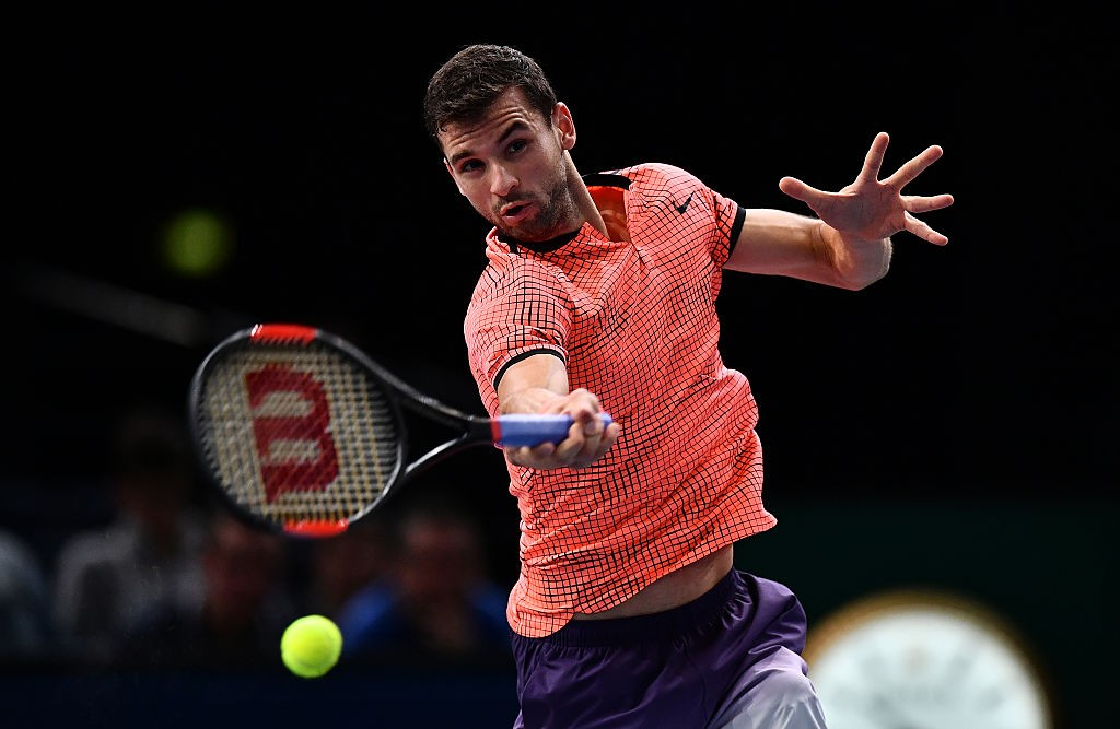 PARIS, FRANCE - NOVEMBER 01:  Grigor Dimitrov of Bulgaria plays a forehand against MArcos Baghdatis of Cyprus during the Mens Singles second round match on day two of the BNP Paribas Masters at Palais Omnisports de Bercy on November 1, 2016 in Paris, France. (Photo by Dan Mullan/Getty Images)