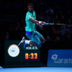 xxxx during his men's xxx match against xxxx on day one of the ATP World Tour Finals at O2 Arena on November 13, 2016 in London, England.