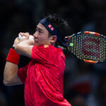 LONDON, ENGLAND - NOVEMBER 14:   Kei Nishikori of Japan in action during his victory over Stan Wawrinka of Switzerland in their Group John McEnroe match today at O2 Arena on November 14, 2016 in London, England. (Photo by Ashley Western - CameraSport via Getty Images)