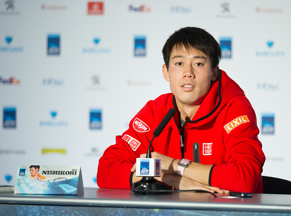 LONDON, ENGLAND - NOVEMBER 14:  Kei Nishikori of Japan at the press conference following his victory over Stan Wawrinka of Switzerland in their Group John McEnroe match today at O2 Arena on November 14, 2016 in London, England. (Photo by Ashley Western - CameraSport via Getty Images)