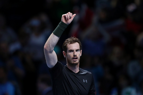 LONDON, ENGLAND - NOVEMBER 14:  Andy Murray of Great Britain celebrates victory in his men's singles match against Marin Cilic of Croatia on day two of the ATP World Tour Finals at at O2 Arena on November 14, 2016 in London, England.  (Photo by Julian Finney/Getty Images)
