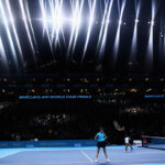 LONDON, ENGLAND - NOVEMBER 17: (EDITORS NOTE: A special effects camera filter was used for this image.) Novak Djokovic of Serbia celebrates victory in his men's singles match against David Goffin of Belgium on day five of the ATP World Tour Finals at O2 Arena on November 17, 2016 in London, England.  (Photo by Clive Brunskill/Getty Images)