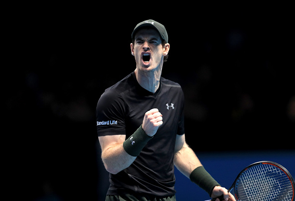 Andy Murray celebrates in his match against Milos Raonic during day seven of the Barclays ATP World Tour Finals at The O2, London. (Photo by Adam Davy/PA Images via Getty Images)