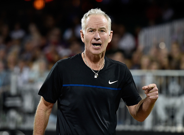 LAS VEGAS, NV - OCTOBER 10:  Former tennis player John McEnroe reacts as he competes during the World TeamTennis Smash Hits charity tennis event benefiting the Elton John AIDS Foundation at Caesars Palace on October 10, 2016 in Las Vegas, Nevada.  (Photo by David Becker/Getty Images)