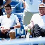 NEW YORK, NY - AUGUST 24:  Novak Djokovic of Serbia talks with coach Boris Becker during previews for the US Open tennis at USTA Billie Jean King National Tennis Center on August 24, 2014 in New York City.  (Photo by Julian Finney/Getty Images)