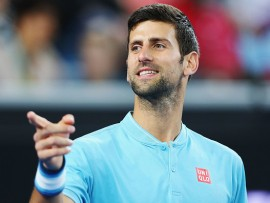 MELBOURNE, AUSTRALIA - JANUARY 11:  Novak Djokovic of Serbia reacts during 'A Night with Novak' at Margaret Court Arena on January 11, 2017 in Melbourne, Australia.  (Photo by Michael Dodge/Getty Images)