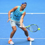MELBOURNE, AUSTRALIA - JANUARY 14:  Rafael Nadal of Spain volleys during a practice session ahead of the 2017 Australian Open at Melbourne Park on January 14, 2017 in Melbourne, Australia.  (Photo by Quinn Rooney/Getty Images)