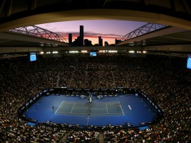 MELBOURNE, AUSTRALIA - JANUARY 31:  A general view of Rod Laver Arena during the Men's Final match between Andy Murray of Great Britain and Novak Djokovic of Serbia on day 14 of the 2016 Australian Open at Melbourne Park on January 31, 2016 in Melbourne, Australia.  (Photo by Quinn Rooney/Getty Images)
